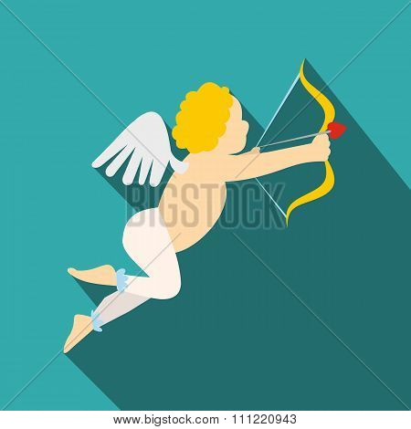 Valentine day cupid flat icon