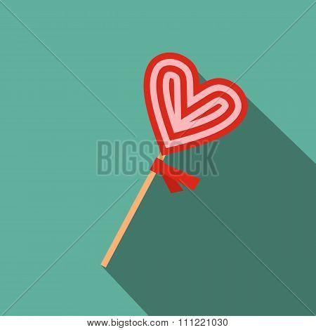 Valentine Day lollipop flat icon