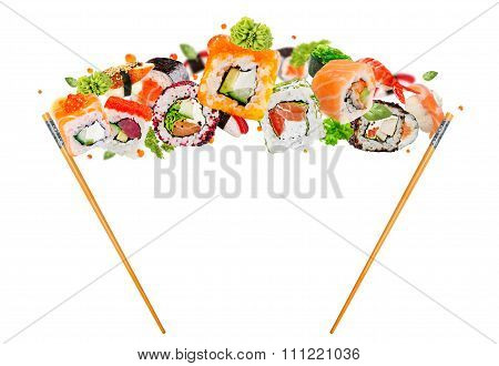 Delicious Pieces Of Sushi, Isolated On White Background