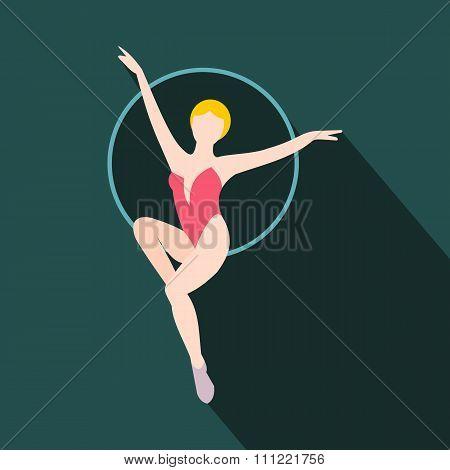 Woman trapeze artist flat icon