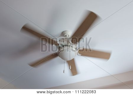 Modern Ceiling Electrical Fan In Motion