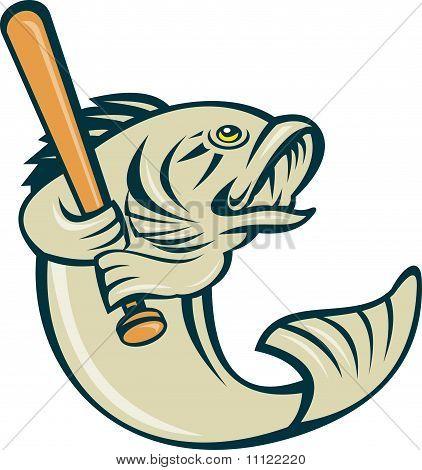 largemouth bass fish playing baseball