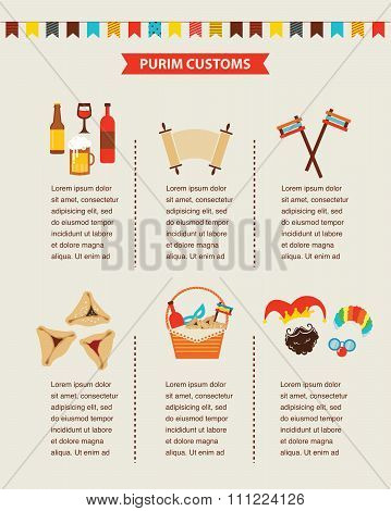 symbols of Jewish holiday purim. infographics design