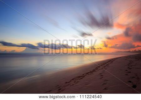 Beautiful Sunrise At The Beach In The Tropics