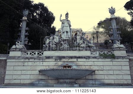 Fountain Of Dea Di Roma In Roma, Italy