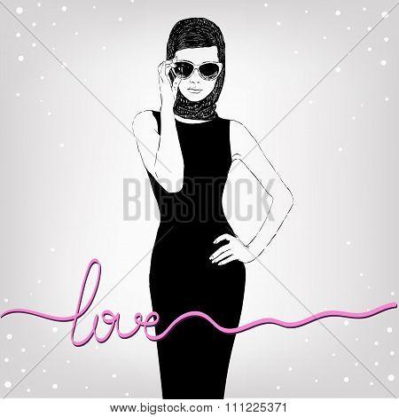 Beautiful retro woman vector Copy