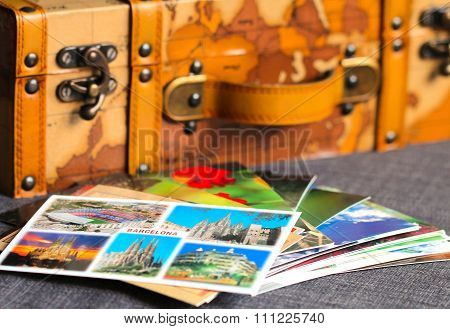 Colorful Postcards Of An Old Vintage Leather Suitcase On The B