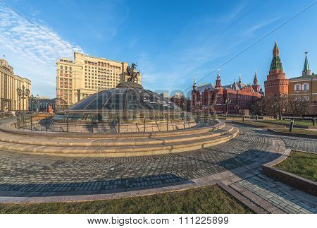 Glass Dome Crowned By The Statue Of St. George At The Manege Square In Moscow.