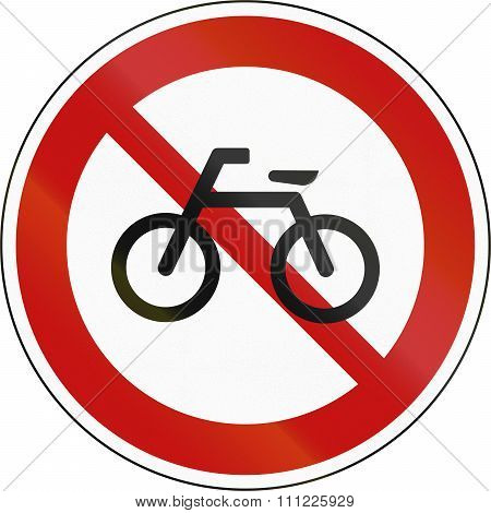 No Bicycles Prohibitory Sign In South Korea
