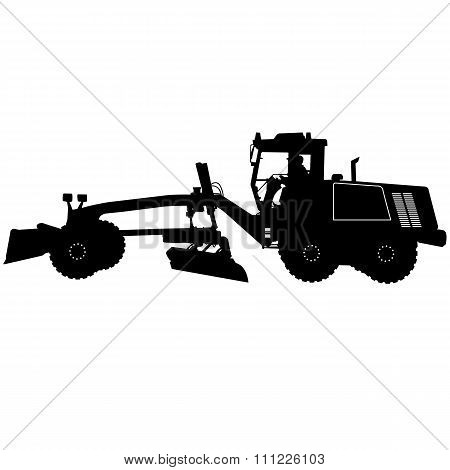 Silhouette Of A Heavy Road Grader. Vector Illustration