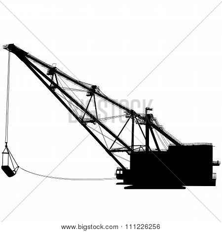 Dragline Walking Excavator With A Ladle. Vector Illustration