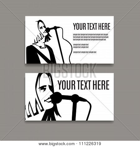 Man with long hair is singing in microphone. Card template.