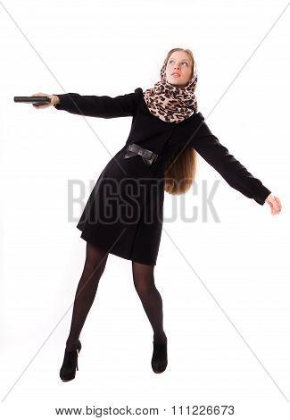 Spy Girl Shoots A Gun