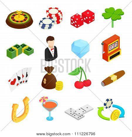 Casino isometric 3d icons