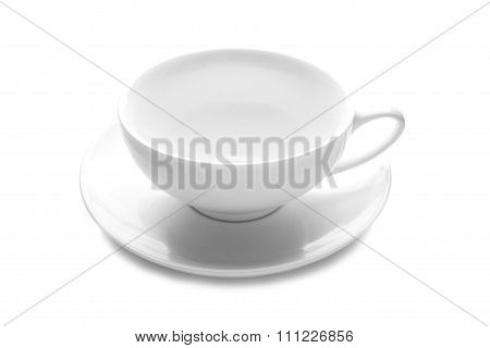 White Cup Isolated On White