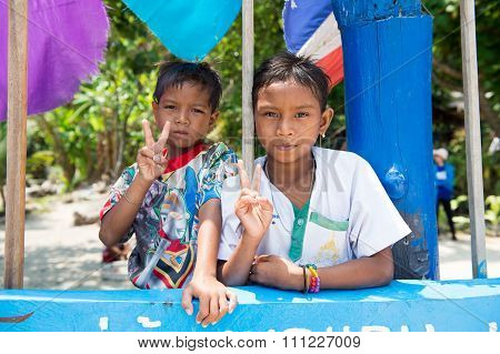 PHANG NGA, THAILAND- MARCH 04, 2015: Unidentified children at Morgan, sea gypsies, village. Morgan