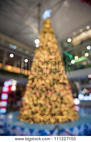 Blur christmas tree lights decorations