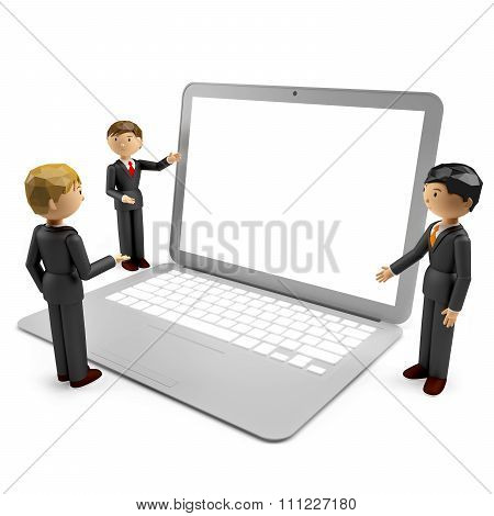 3D Render Of Humans With Laptop Isolated On White Background