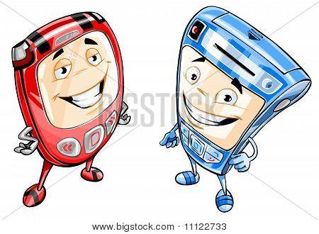 Two happy mobile phones.