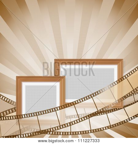 Frames And Photos With Retro Filmstrip Background. Vector