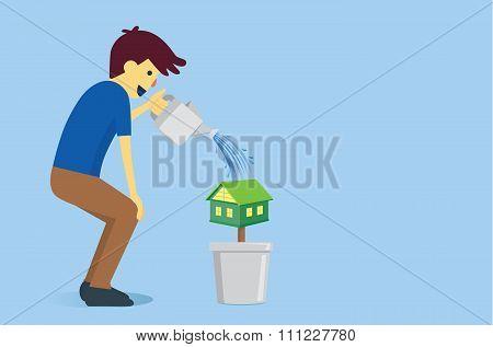 Man watering a houes