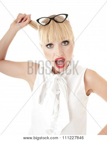 Crazy Blonde Business Woman In Stress Situation Over White Background.