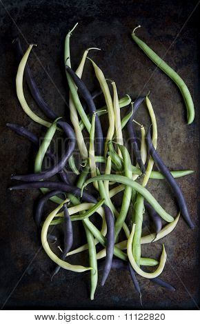 Green Beans on Rustic Tray