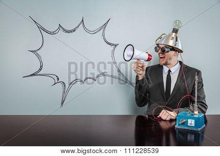 Blank speech bubble with vintage businessman