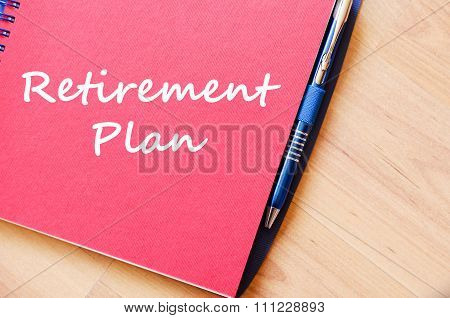 Retirement Plan Write On Notebook