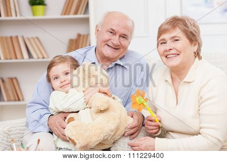 Beautiful friendly family is spending time together