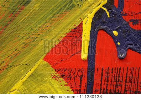 Yellow,black, Blue And Red Acrylic Paint  On  Metal Surface