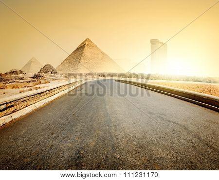Road and pyramids