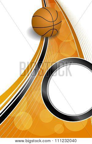 Background abstract orange black sport basketball ball circle frame vertical illustration vector