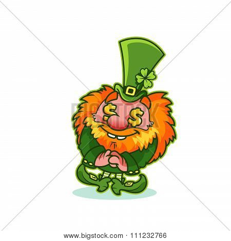 Funny Leprechaun In Green Costume With Gold Fever.