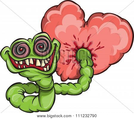 Monstrous Worm Eating A Heart
