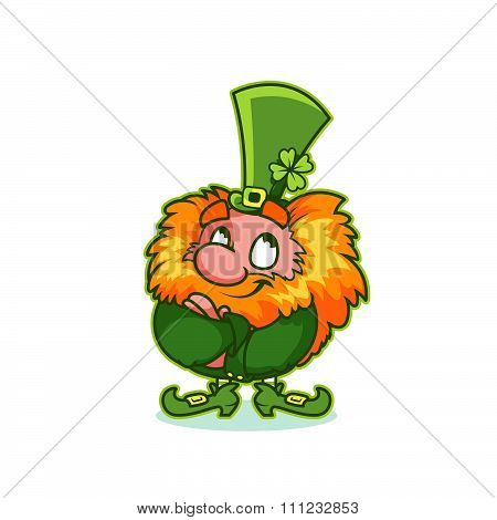 Satisfied Leprechaun In Green Costume.