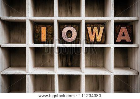 Iowa Concept Wooden Letterpress Type In Draw