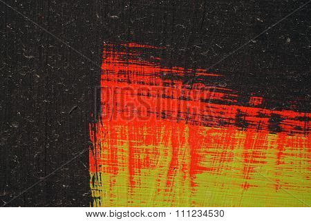 Brushstroke - Black,  Green And Red Acrylic Paint  On  Metal Surface