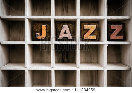 Jazz Concept Wooden Letterpress Type In Draw