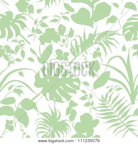 Silhouette Tropical Plants Seamless Background.