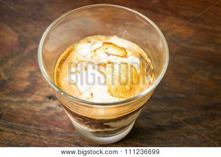 Glass Of Vanilla Ice Cream Affogato Coffee
