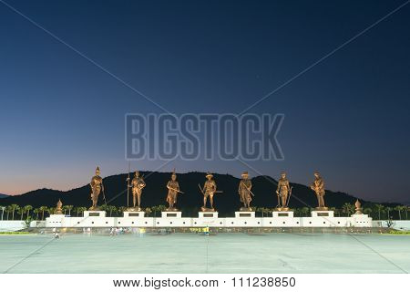 HUA HIN,THAILAND - Dec 11,2015 : Ratchapak Park and the statues of seven former Thai kings