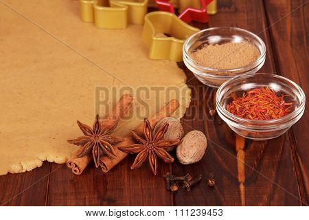 Christmas dough with cookie cutters