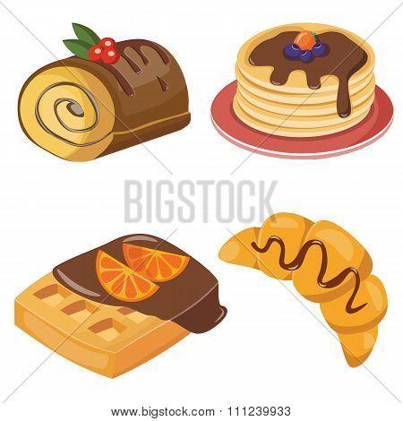 set of croissant, jamroll, puncake and waffles