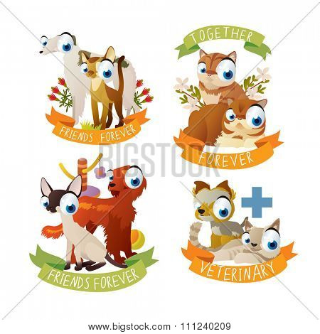 cats and dogs friendship stickers and labels. Cats and Dogs veterinary logos or badges, mascots or emblems.
