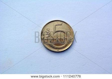 Czech money -  5 kronas (2000 year)