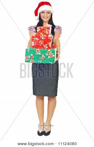 Young Business Woman With Christmas Gifts