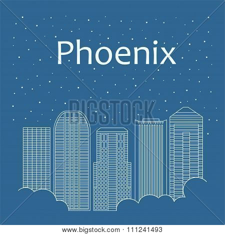 Night city in a flat style for banners, posters, illustration, games, background.