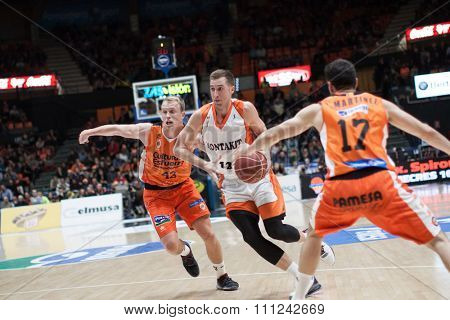 VALENCIA, SPAIN - DECEMBER 12th: Wear with ball during Spanish League between Valencia Basket Club and Montakit Fuenlabrada at Fonteta Stadium on December 12, 2015 in Valencia, Spain