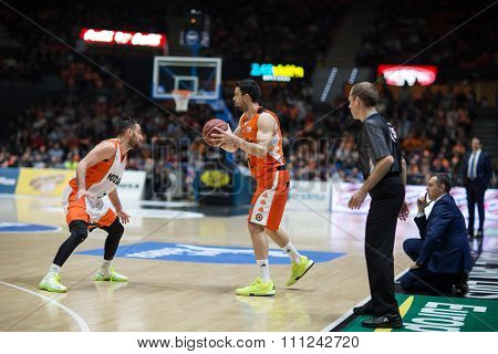 VALENCIA, SPAIN - DECEMBER 12th: Martinez with ball during Spanish League between Valencia Basket Club and Montakit Fuenlabrada at Fonteta Stadium on December 12, 2015 in Valencia, Spain